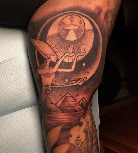 Killian Moon - black and grey egyptian themed arm tattoo