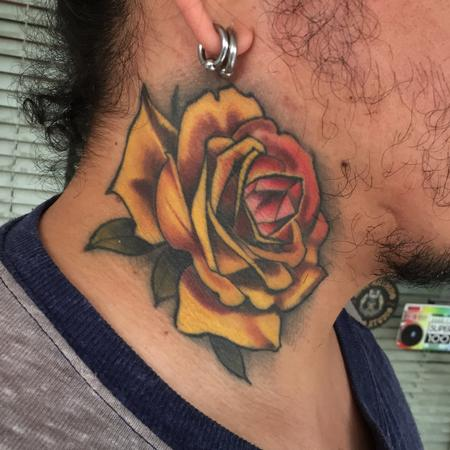 Tattoos - yellow neck rose with crystal - 141755