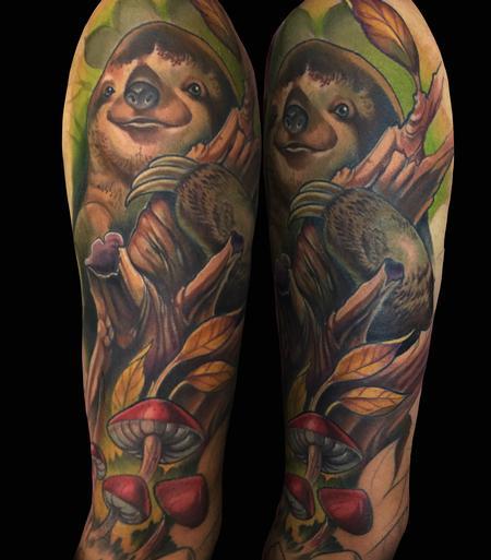 Killian Moon - new school colorful sloth tattoo