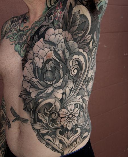 Tattoos - Peony and filigree torso tattoo - 120108