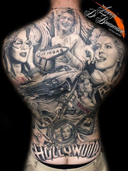 Tattoos - marilyn monroe back piece - 109003