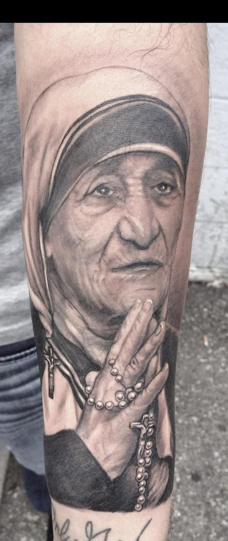 Tattoos - Black and Gray Mother Teresa - 119235
