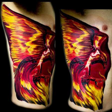 Tattoos - Phoenix on ribs - 106624