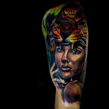Tattoos - Mayan woman with jaguar headdress  - 116582