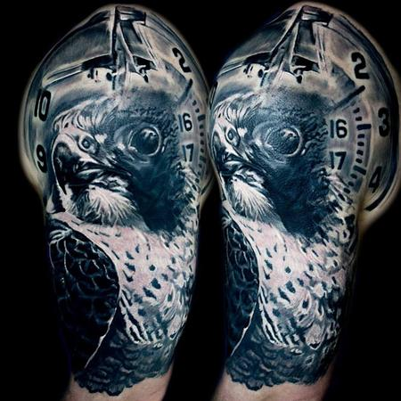 Tattoos - Skydiving themed half sleeve featuring a peregrine falcon - 116577