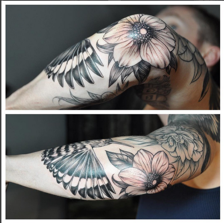 Tattoos - Floral and Bird on Elbow (detail shot)- Instagram @michaelbalesart - 122172