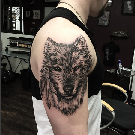 Tattoos - Realistic Wolf on Shoulder- Instagram @michaelbalesart - 121895