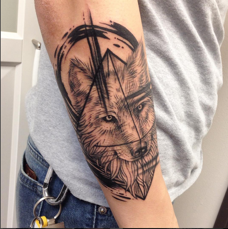 Tattoos - Geometric/Illustrative Wolf on Forearm- Instagram @michaelbalesart - 121889