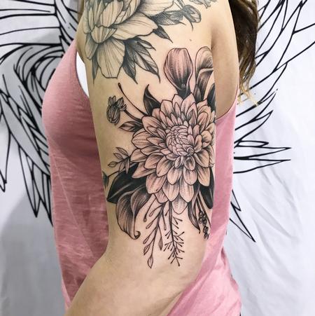 Tattoos - FLORAL ON ARM. INSTAGRAM @MICHAELBALESART - 134136