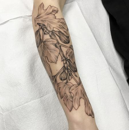 Tattoos - FIG BRANCHES AND FRUIT ON FOREARM. INSTAGRAM @MICHAELBALESART - 134135