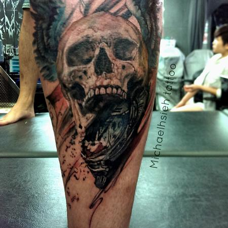 Tattoos - time piece with skull and pocket watch - 99085