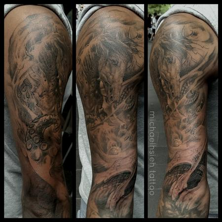 Tattoos - custom poseidon piece - 99877