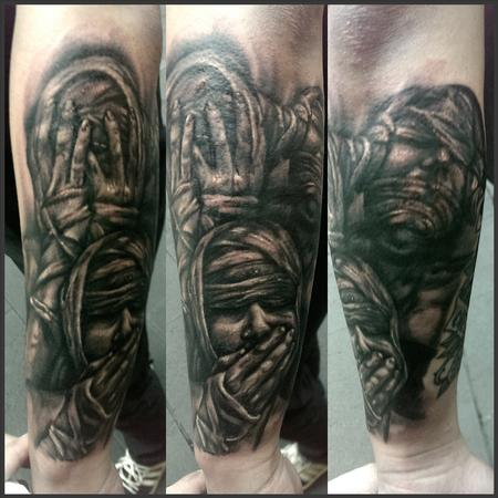 Tattoos - speak no evil. see no evil. hear no evil - 99087