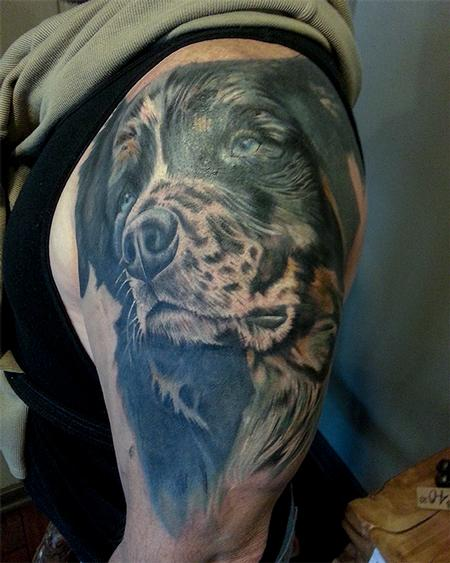 Tattoos - Blue Ribbon Cutter Dog Portrait Tattoo - 99050