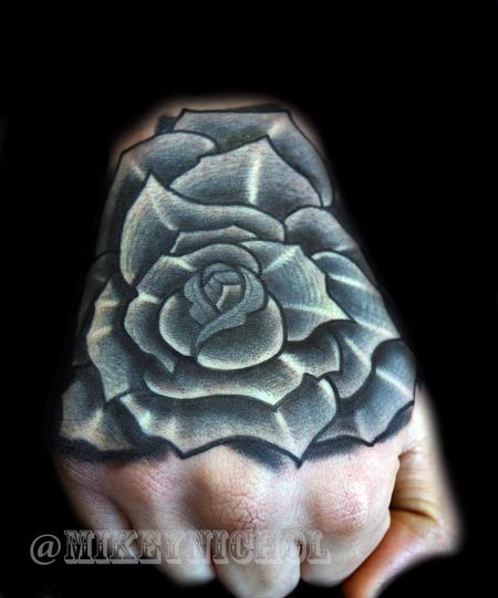 Tattoos - Black and Grey Rose  - 99340