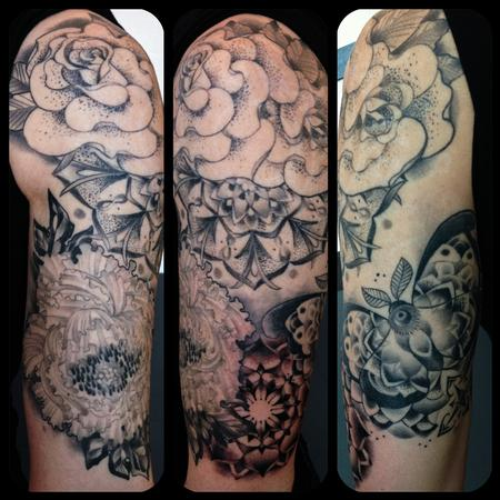 Tattoos - Black and Grey Flowers, Moth and Mandala - 89122