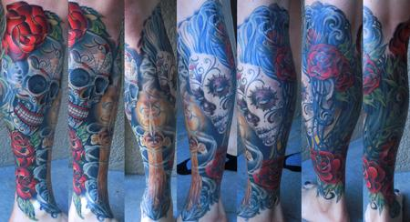 Tattoos - Day of the Dead leg sleeve with Candle - 78145
