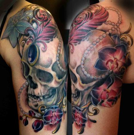 Tattoos - Fancy Skull with Orchids - 88963