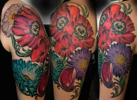 Tattoos - Poppies with Gerber Daisies and Lilly - 88964