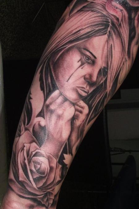Tattoos - Black and Grey Girl Tattoo - 61752
