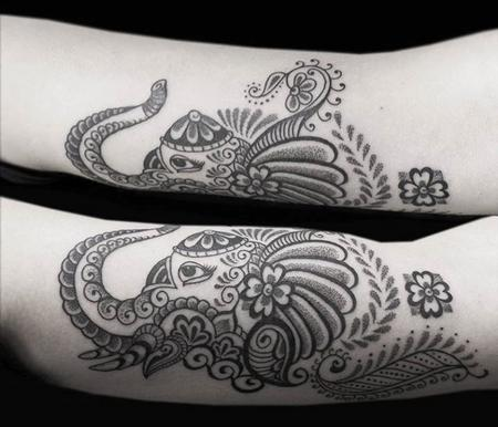 Obi - BONGO STYLE ELEPHANT - PERSONALIZED STYLE COMBINING ELEMENTS OF BENGALI/INDIAN FOLK ART RENDERED IN DOTWORK AND LINEWORK
