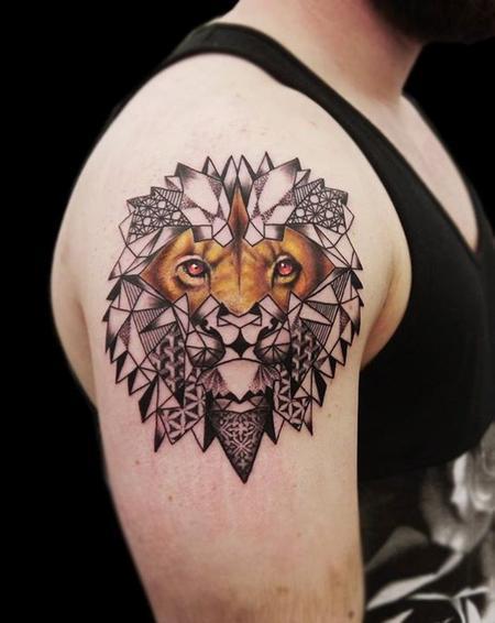 Tattoos - linework dotwork geometric realistic lion tattoo - 109171