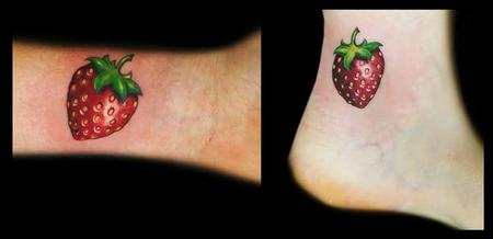 Obi - realistic color strawberry tattoos