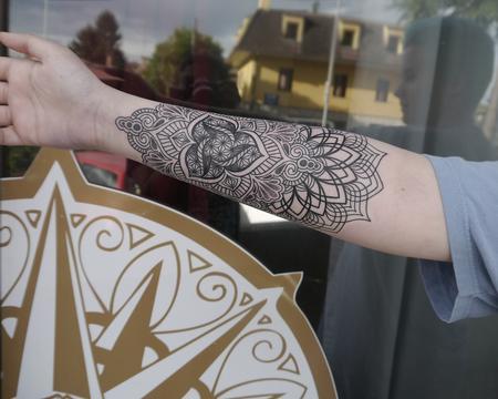 Tattoos - dotwork linework mandala tattoo  - 122250