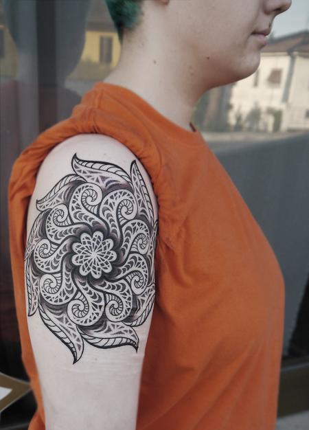 Tattoos - dotwork linework mandala tattoo  done on the 3rd day at Off the Map, Cervignano del Fruili , Italy - 122252