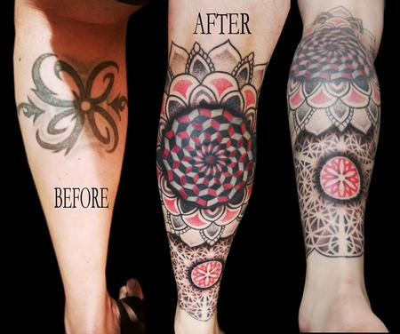 Tattoos - linework dotwork colour fractal mandala cover up leg sleeve mandalas - 119728