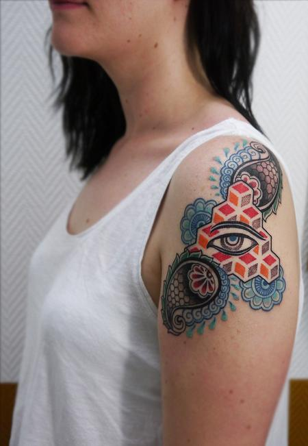 Tattoos - color dotwork linework bongo style paisley tattoo design with buddha eye - 119726