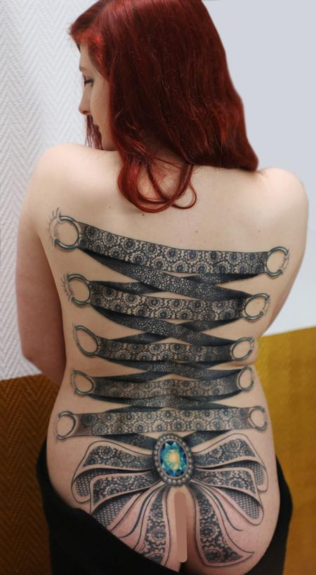 Obi - ornamental lace corset backpiece tattoo with crystal centre