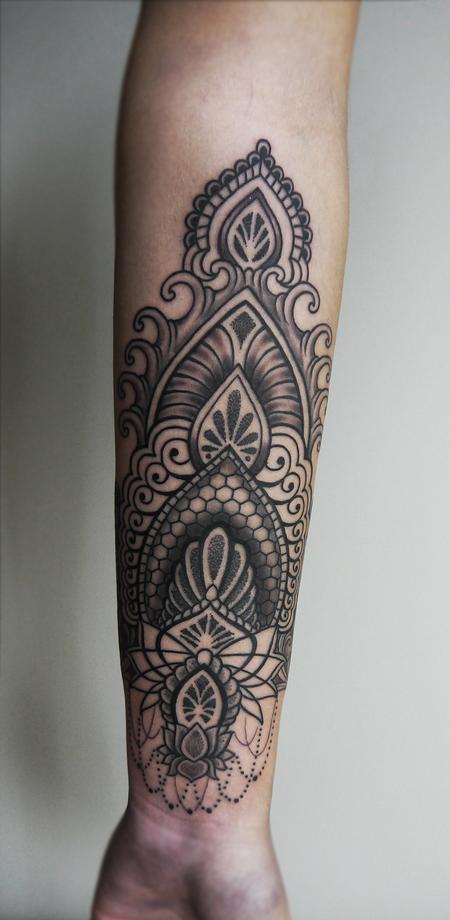 Tattoos - dotwork linework indian traditional ornamental tattoo on the forearm - 125823