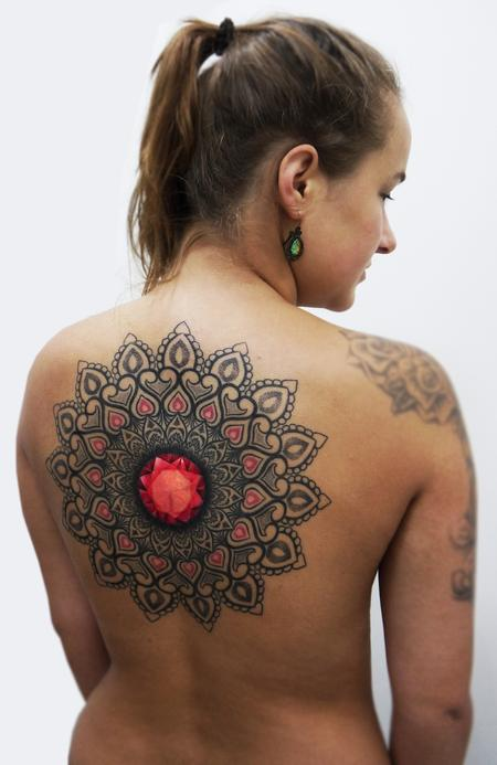Tattoos - ornamental dotwork mandala with crystal centre on the back - 125762