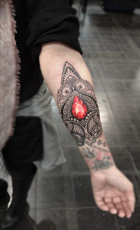 Tattoos - ornamental bongo style dotwork linework  with crystal centrepiece - 117304