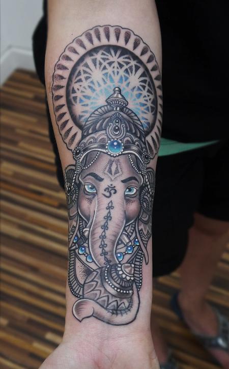 Tattoos - dotwork ganesh mandala tattoo - 120033