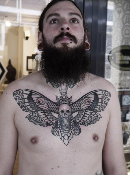 Obi - dotwork linework geometric  death head moth tattoo