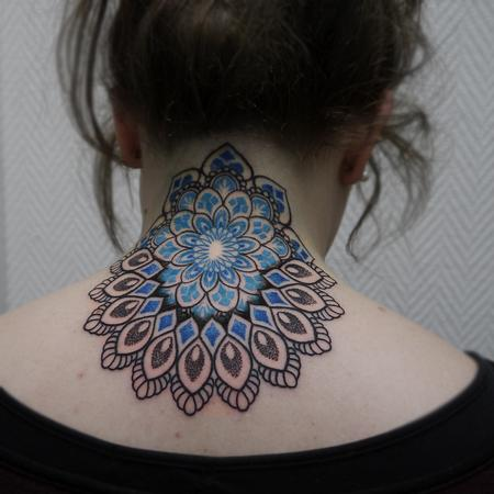 Tattoos - neck shoulder dotwork linework mandala in color - 117305