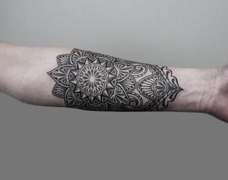 Tattoos - dotwork linework bongo style forearm tattoo - 126272