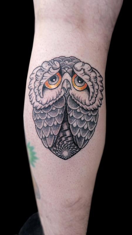 Tattoos - dotwork custom made sad owl tattoo - 119442