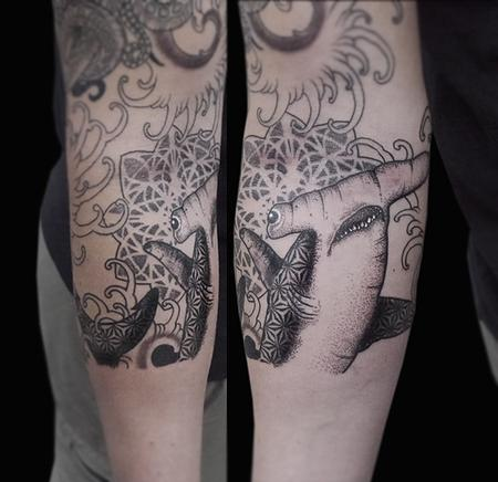 Tattoos - dotwork linework geometric hammerhead shark tattoo - 117955