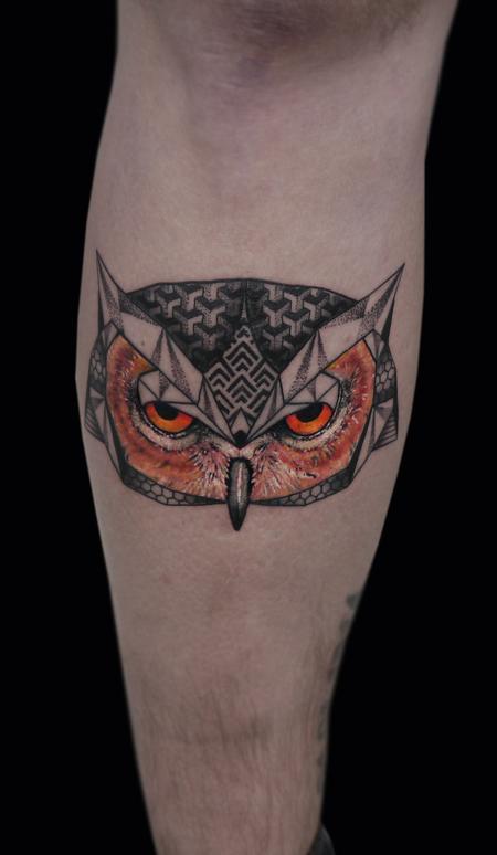 Tattoos - linework dotwork semi realistic color abstract owl tattoo custom style  - 117875