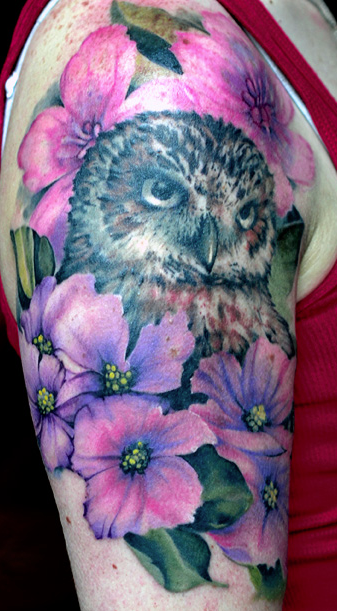 Tattoos - Owl & Flowers - 108963