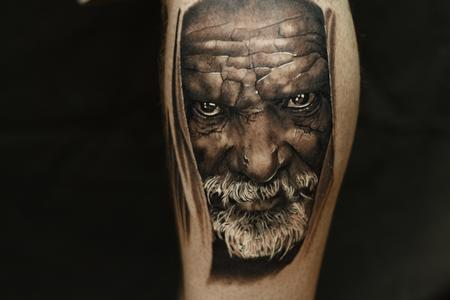 Tattoos - Black and grey portrait tattoo of an older man. - 106452