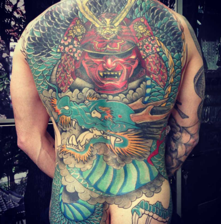 Tattoos - Traditional Japanese Warrior and Dragon - 109346