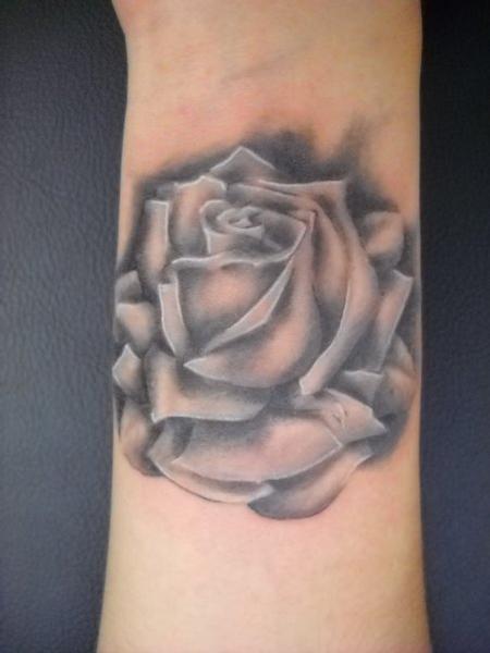Tattoos - Black and Gray Rose Tattoo - 61316