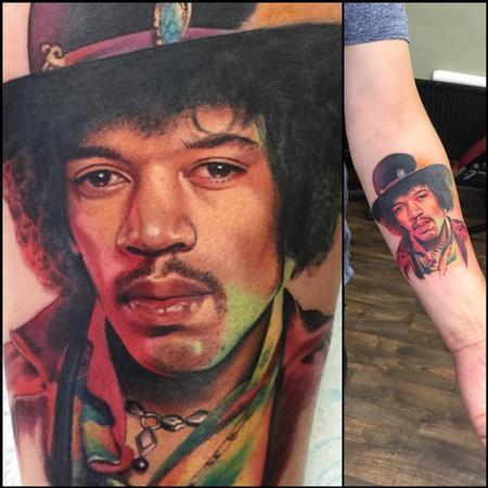 Tattoos - Jimi Hendrix Portrait Tattoo - 120116
