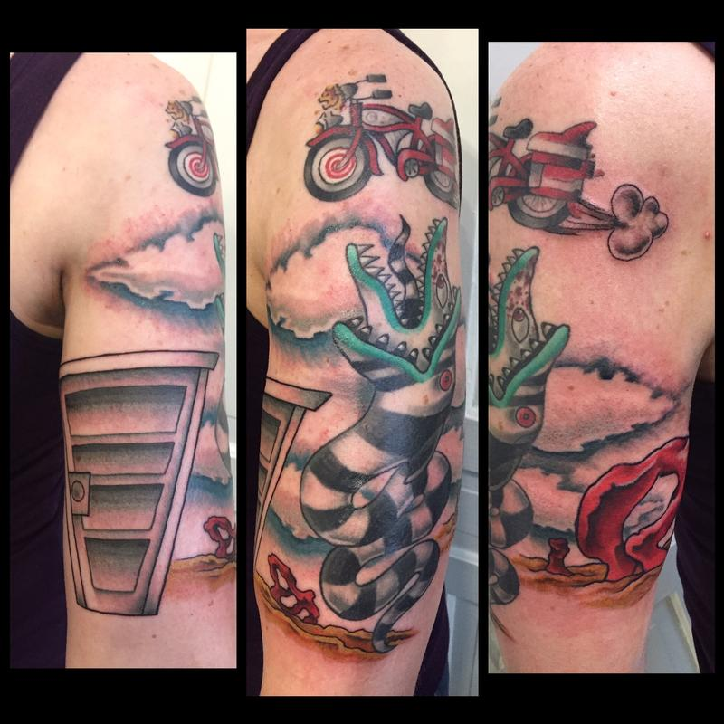Colorful And Bright Beetlejuice Sandworm And Pee Wee Herman Bicycle1 2 Sleeve By Sara Eve Tattoonow