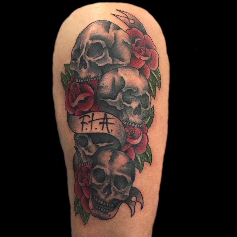 Traditional Skulls With Roses And Banner By Sara Eve Tattoonow