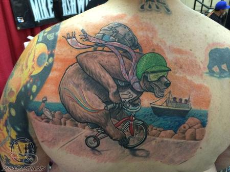Tattoos - Bear on Tricycle Haulings Ass in Longbeach. CA - 111228
